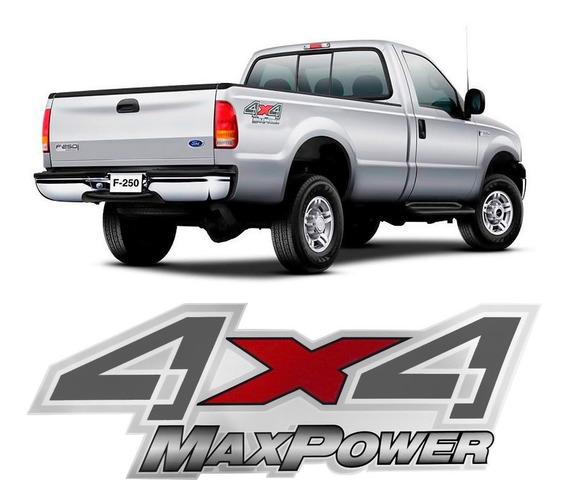 Par Adesivo Emblema Letreiro Picape F250 4x4 Maxpower Turbo