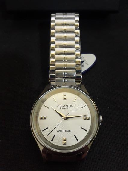 Relogio Unissex Atlantis G3490 Prata Fundo Branco