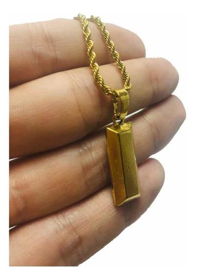 Corrente Masculina Mini Barra De Ouro 60 Cm (envio Rápido)