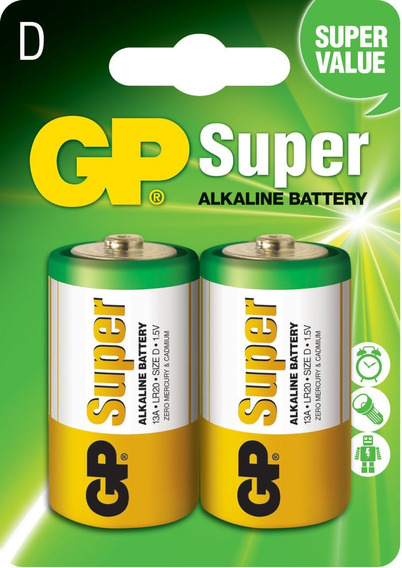 02 Pilhas Grande D C/2 Alcalina Gp Super - 1 Cartela C/2 Un