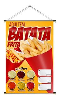 Banner De Batata Frita Com Molhos - 60x90cm
