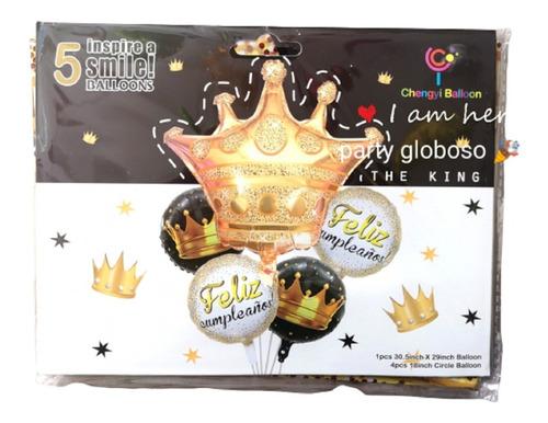 Set Globos Metalizado Feliz Cumpleaños Reyes X5