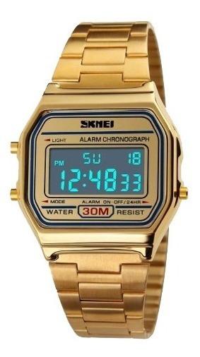 Relógio Unissex Dourado Skmei Frete Grátis Com Garantia