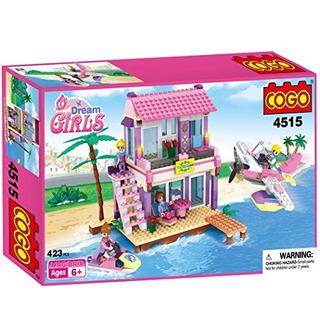 Cogo Dream Girls Blocks Beach House Pink Friends Juguetes De