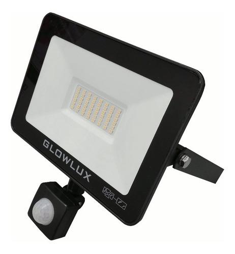 Proyector Reflector Led 50w Frío C/sensor Movi - Glowlux