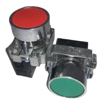 Pulsador Metal 22mm Verde Rojo Pack 4 Unidades