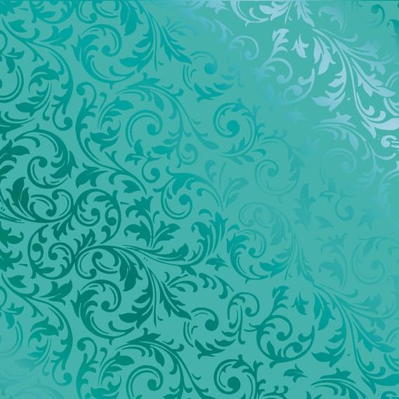 50 Sacos Metalizado P/presente 10x14cm Arabesco Turquesa