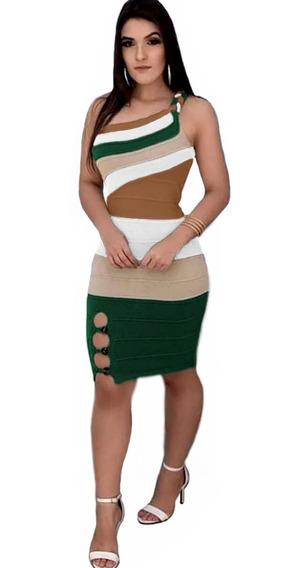 Vestido Ombro Só Alça Trançada Tricot Modal Curto Ref:897