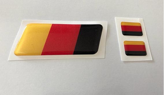 Emblema Bandeira Alemanha 3x8 + 2 Placa Carro Resinado Kit