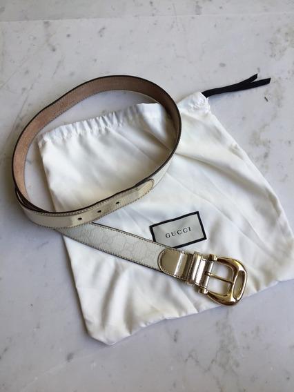 Cinturón Gucci Blanco Con Dorado