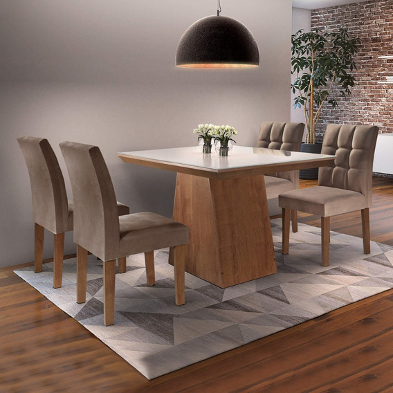 Mesa De Jantar Sevilha I Tampo De Vidro 4 Cadeiras If