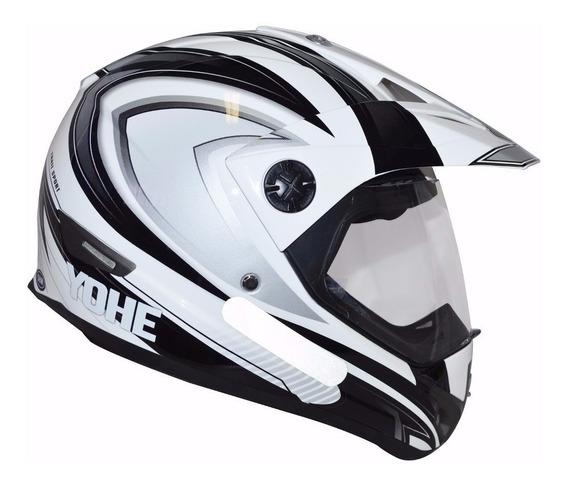 Capacete Yohe Trail Sport - Cross C/viseira Preto E Branco