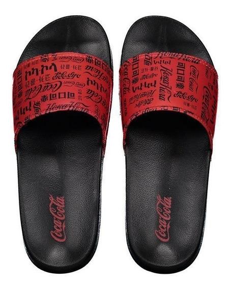 Chinelo Coca Cola Slide Logos Preto E Vermelho