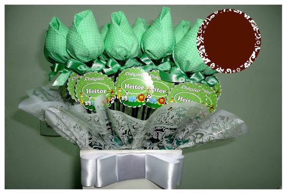 Lembrança De Nascimento - Vaso Com Tulipas De Chocolate