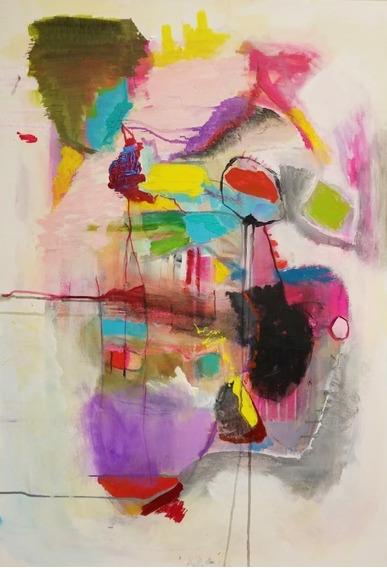 Cuadro Abstracto Pintado A Mano Único Acrílico En Bastidor