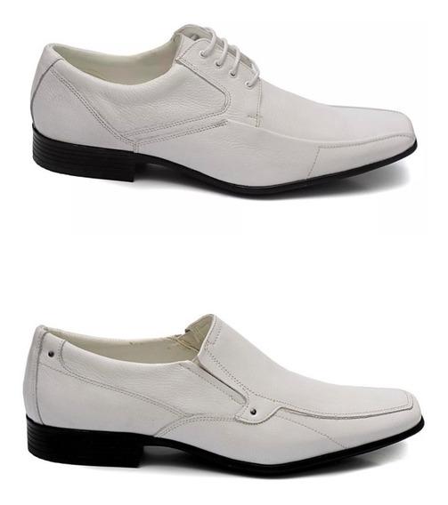 Kit 2 Pares Sapato Branco Social Masculino Em Couro Franca