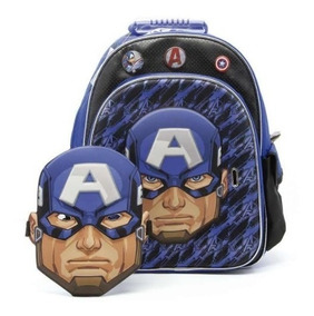 Mochila Avengers Capitán América Máscara 16 Pulgadas Sp408
