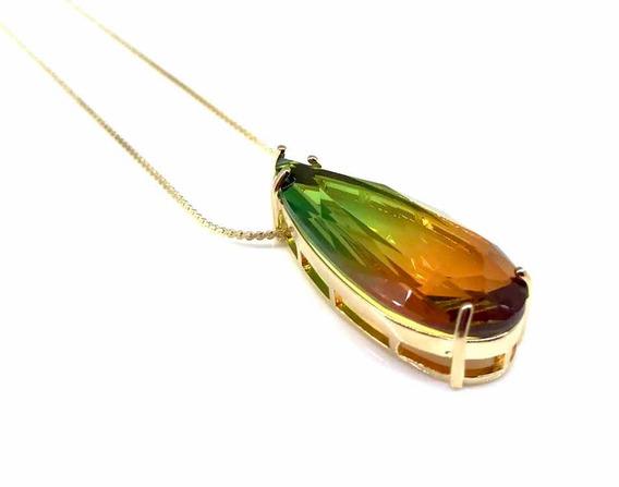 Colar Gota Rainbow Fusion Blogueiras Bicolor Folheado A Ouro