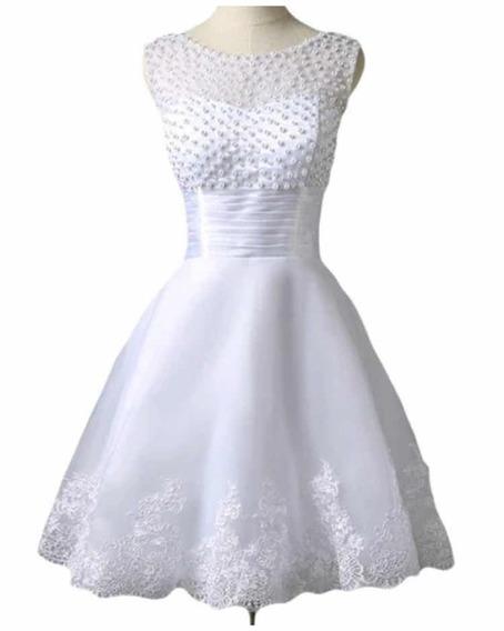 Vestido De Noiva Curto Princesa Com Pérolas Champs