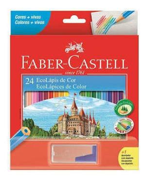 Lápis De Cor 24 Cores Faber Castell + 1 Apontador