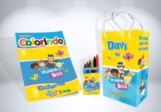 50 Kit De Colorir Mundo Bita Revista Sacola Giz Lembrança