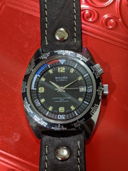 Reloj Vintage Tipo Diver Sicura By Breitling