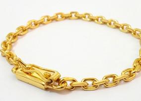 Pulseira Masculina Banhada A Ouro 18k Elo Cadeado 5mm