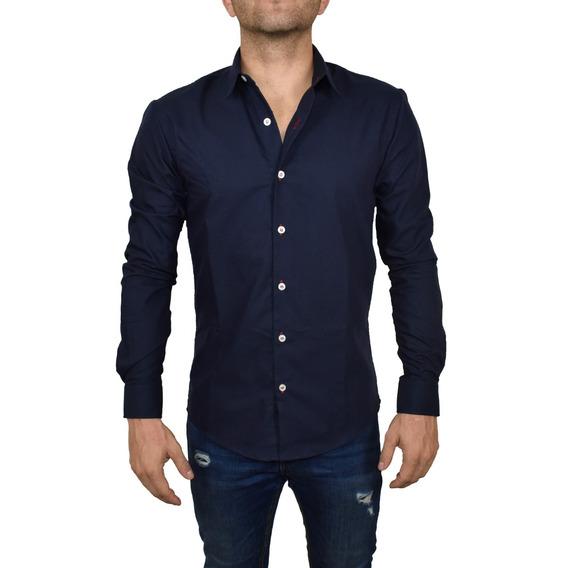 Camisa Lisa Azul Marino