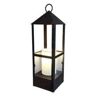 Lámpara De Mesa Farol Chico C/ Pant. Tela - Hierro Óxido