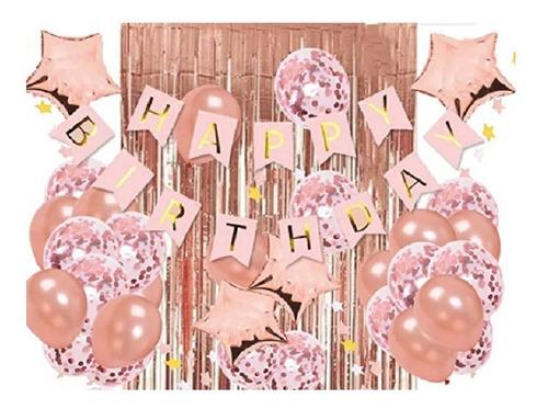 Decoración Feliz Cumpleaños Oro Rosa Cortinas Bombas Guirnal