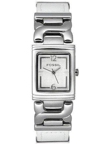 Relógio Feminino Original Fossil Prata Couro Branco Novo
