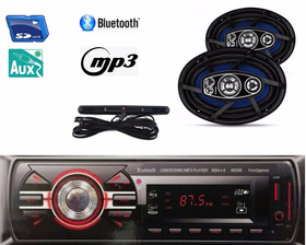 Kit Som  Radio Mp3 Bluetooth + Auto Falante 6x9 200w+antena