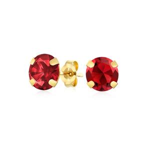 1.4ct Redondo Pedra Preciosa Granada Stud Brincos Para Mulhe