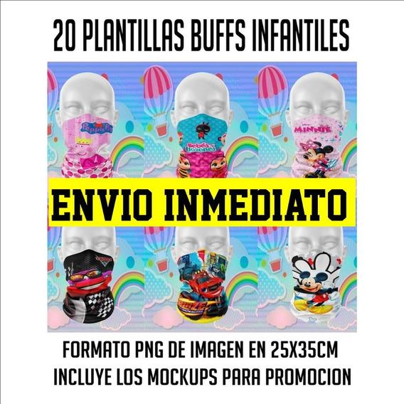 Plantillas Cuellos Buff Infantiles Sublimación Diseños Png