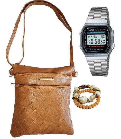 Bolsa Relógio Pulseira Kit Acessórios Feminino Promoção