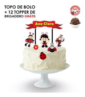 Topo De Bolo + 12 Topper Docinho Joaninha Gratis
