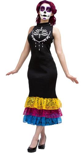 Imagen 1 de 1 de Disfraz Catrina Elegante Mujer Halloween Disfraz Fiesta