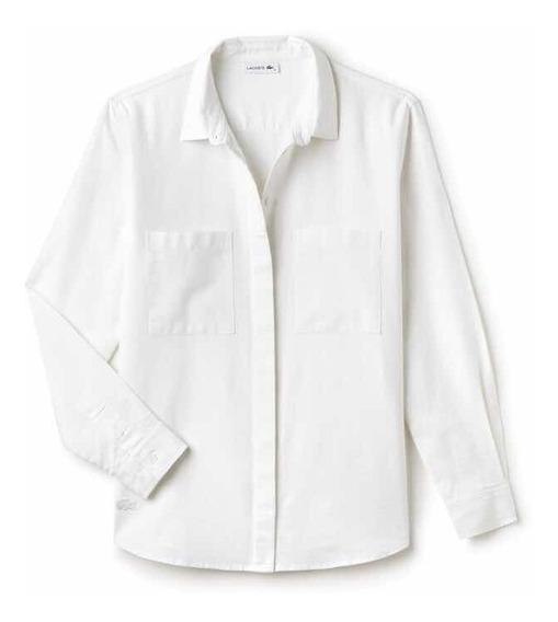 Camisa Lacoste De Dama Blanca De Lino Nueva Y Original