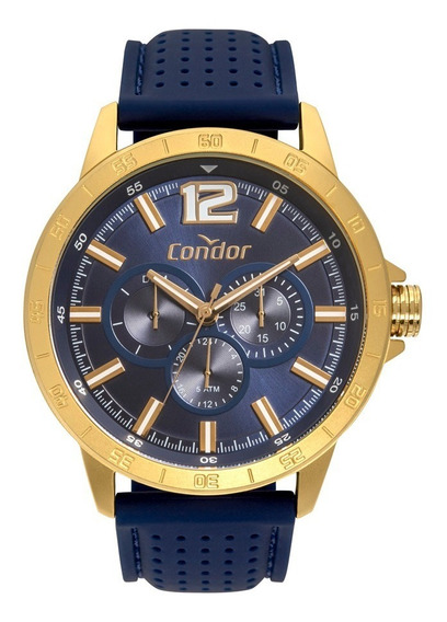 Relógio Condor Masculino Azul Dourado Com Nf 4a