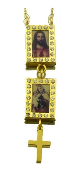 Escapulário C/ Ave Maria Menino Jesus Em Ouro 18k J19603