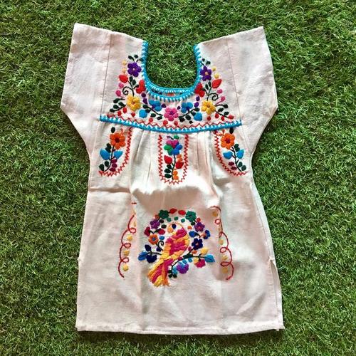 Vestido Mexicano Infantil Bebê T0 Bordado A Mão Original