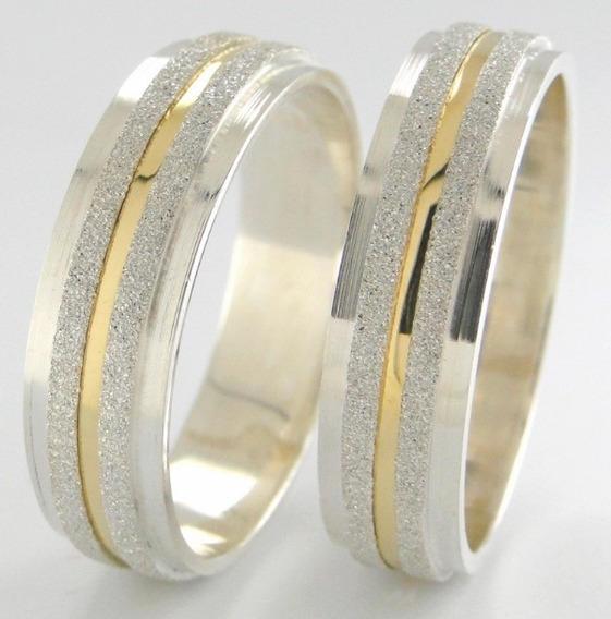 Par Alianças Prata 950 Ouro 18k 7mm Diamantadas