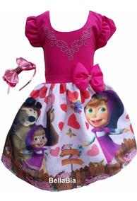 Vestido Masha E O Urso Rosa + Tiara Brinde