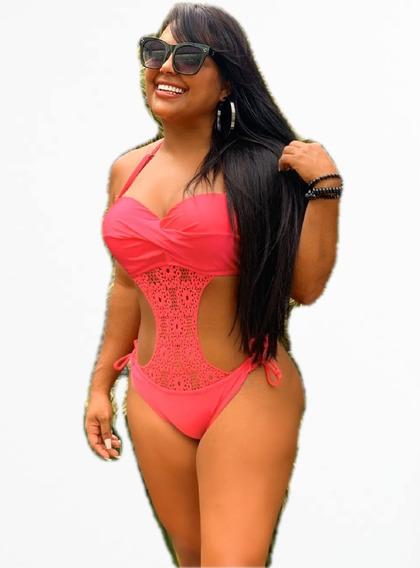 Maiô Engana Mamãe Decote Bojo Pink P M G Moda Luxo + Brinde