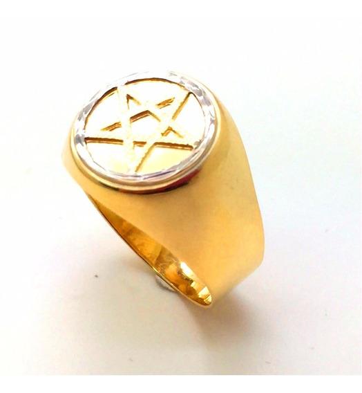 Anel Ouro 18k Pentagrama Estrela Cinco Pontas Salomao