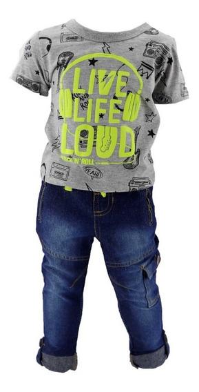 Conjunto Playera Camisa Y Pantalon Para Niño 04028