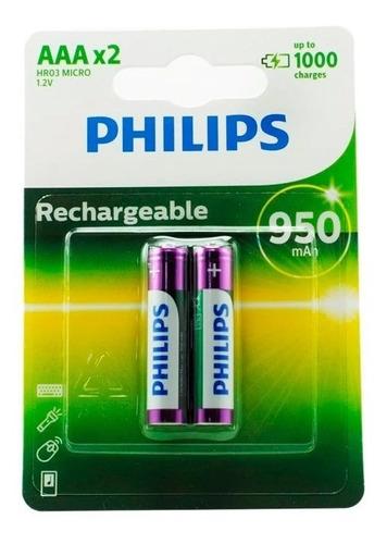 Pilas Aaa Philips Recargables X2 950mah Triple A - San Justo
