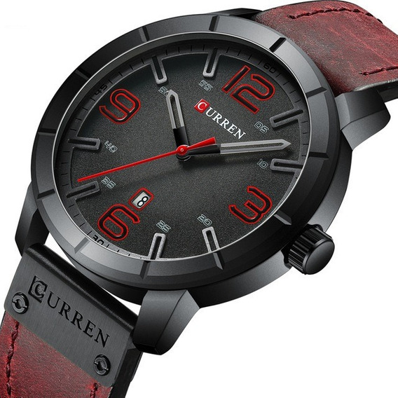 Relógio Masculino Curren Casual Luxo Pulseira Em Couro