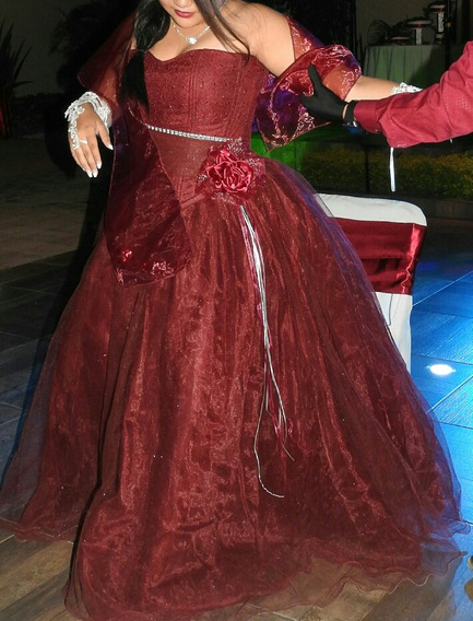 Vestido Vino Xv Años, Muñeca Xv, Ramo Bouquet Talla G/xl