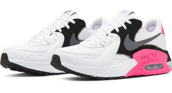 Tenis Nike Air Max Excce Blanco Rosa Dama 22.5-25 Originales
